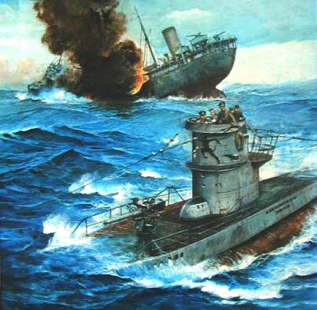 Uboat Sinking Merchantman